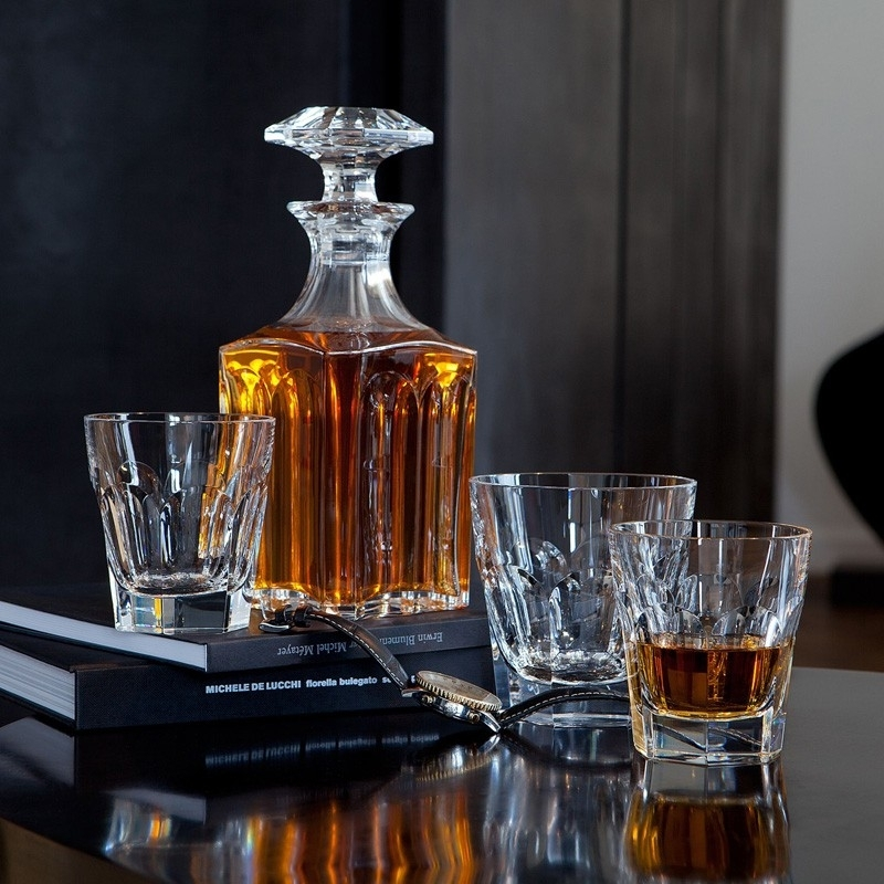 Crystal old fashion tumblers and square whiskey decanter HARCOURT 1841.